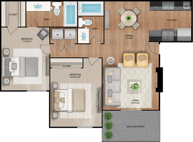 The Highline- Two Bedroom / Two Bath - 975 Sq. Ft.*