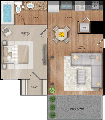 The Landing - One Bedroom / One Bath - 520 Sq. Ft.*