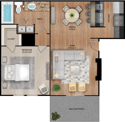 The Pinnacle - One Bedroom / One Bath - 720 Sq. Ft.*